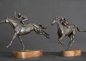 Horse racing bronze statues