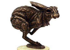 Hare running bronze statue