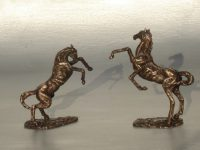 minis rearing horses bronze statues