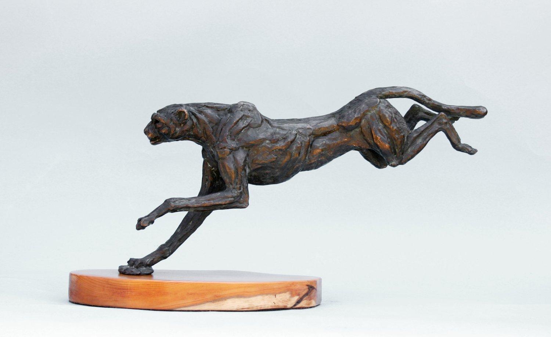 Landing Cheetah Bronze Sculpture
