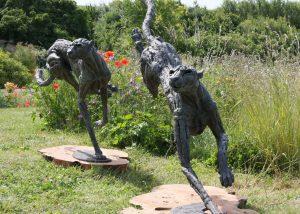 Big Cheetahs bronze statues