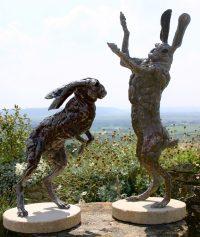 Big hares bronze statues